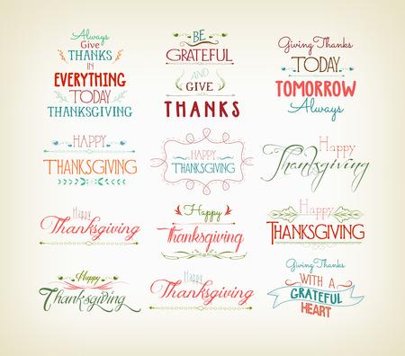 Vintage Typographic Thanksgiving Design Set Illustration