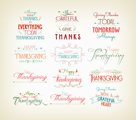 green background pattern: Vintage Typographic Thanksgiving Design Set Illustration