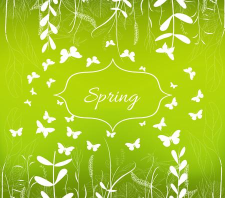 formal garden: Green spring ornament background