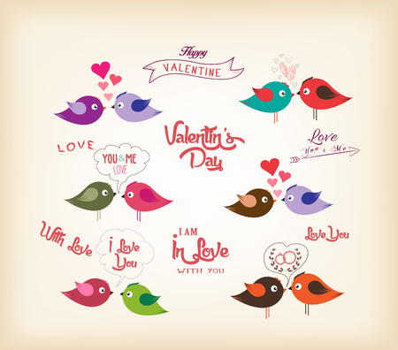 birds eye: love birds with hearts