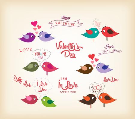 bird song: love birds with hearts
