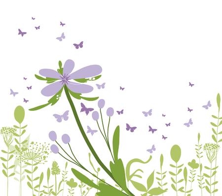 formal garden: purple floral silhouette