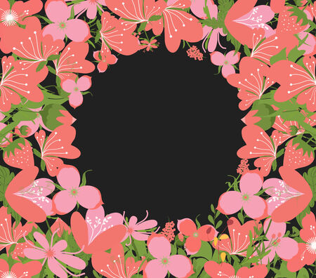 copyspace: Vintage Flowers Negative Copyspace Background Illustration