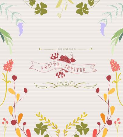 formal garden: Hand Drawn Floral Frame Background