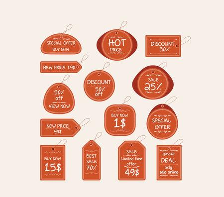 cut price: price tag elements Illustration