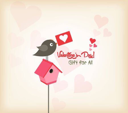 queen of angels: happy valentines day greeting card with birdhouse Illustration