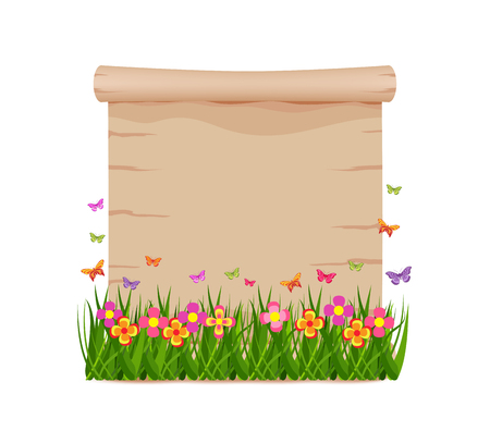 fellowship: Concept grass and butterflies of spring with blank paper Illustration