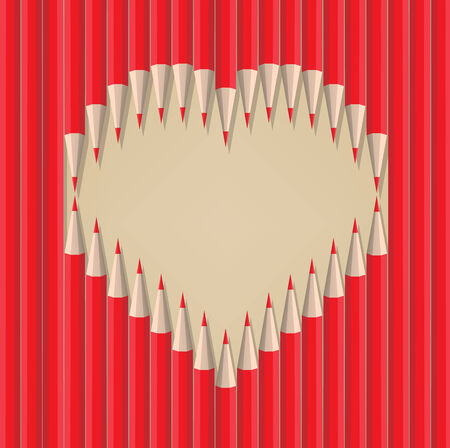 queen of angels: heart shape out of pencils valentines day Illustration