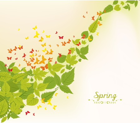 wet flies: spring fall leaves and butterflies background
