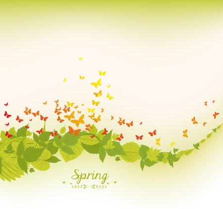 wet flies: spring leaves and butterflies background
