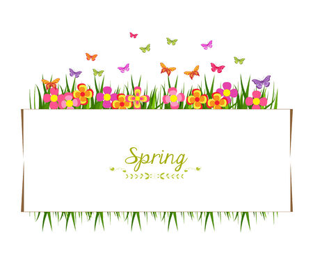 spring with grass and butterfly banner