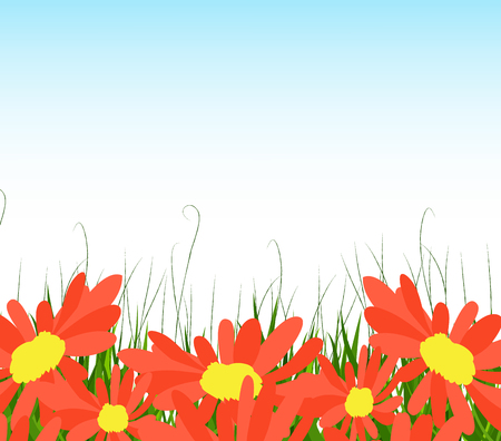 horizon over land: background with sunflowers, green grass