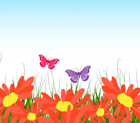 horizon over land: background with yellow sunflowers, green grass and butterflies