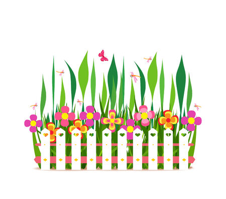 horizon over land: fence with spring flowers Illustration