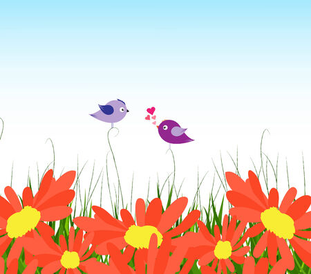 horizon over land: spring background with yellow sunflowers and couple bird lovely Illustration