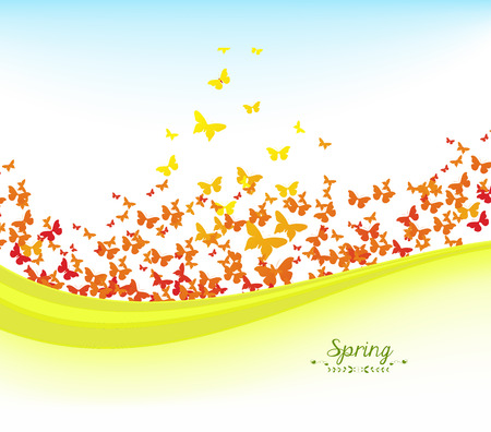 horizon over land: spring banners with colorful butterflies and blue sky Illustration