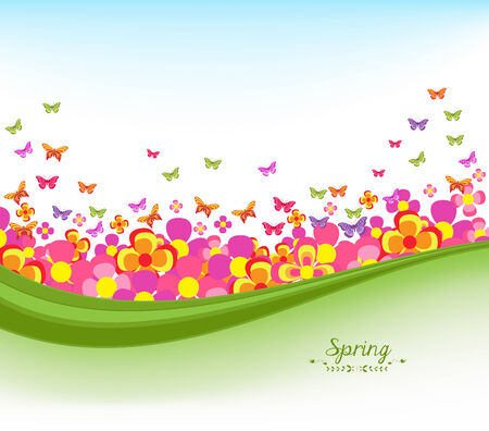horizon over land: spring banners with flower colorful and blue sky