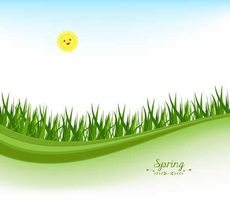 horizon over land: spring banners with grass and blue sky Illustration