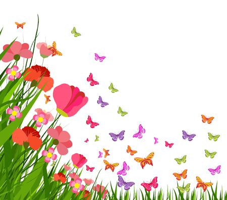 horizon over land: spring flower and butterfly Illustration