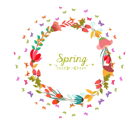 horizon over land: spring with flower and butterflies shape of the wreath Illustration