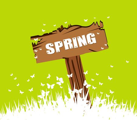 western script: Spring concept with wood sign post