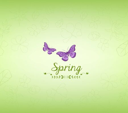 western script: spring green and butterfly background Illustration