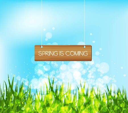 western script: Spring is coming concept with wood sign