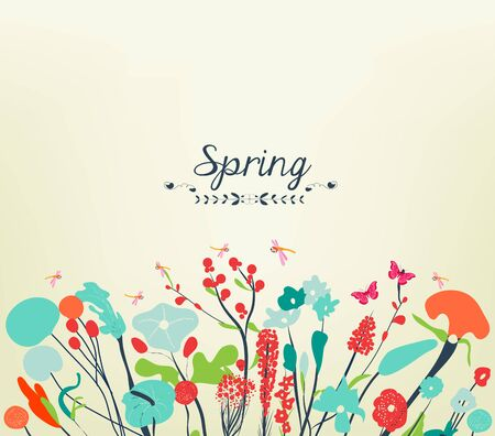 western script: Spring postcard vintage