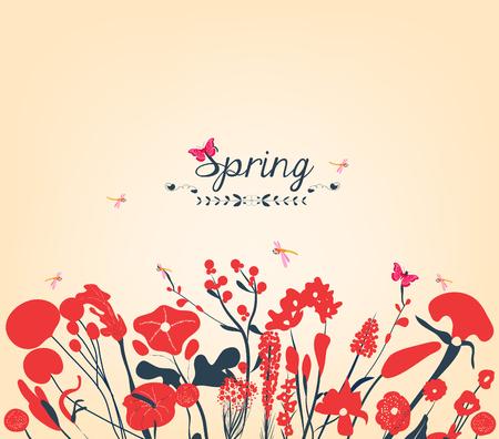 western script: Spring postcard Illustration