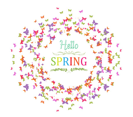 western script: spring with butterflies the wreath Illustration