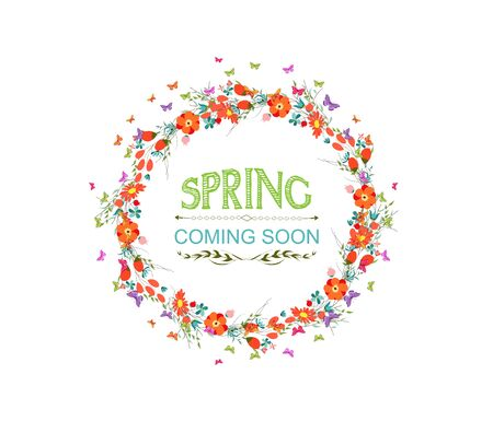 western script: spring with flower and butterflies the wreath