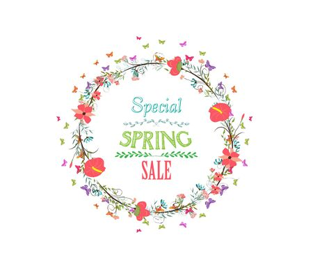western script: spring with flower and butterflies wreath Illustration