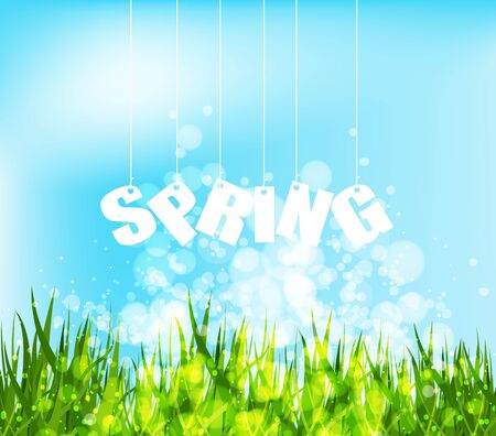 western script: Spring word hanging on a strings background