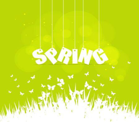 western script: Spring word hanging on a strings