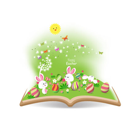 buny: easter egg and buny funny spring with dandelion in the book