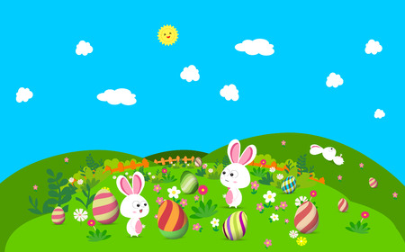 Colorful happy Easter greeting card with eggs and bunny Ilustração