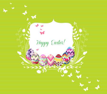 baby animal cartoon: easter eggs greeting card