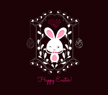 happy easter eggs ornament frame Vector