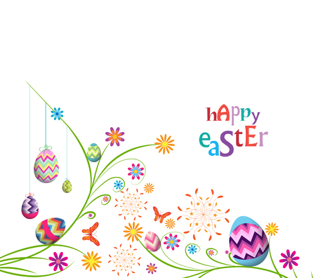 easter celebration: happy easter eggs with floral background Illustration