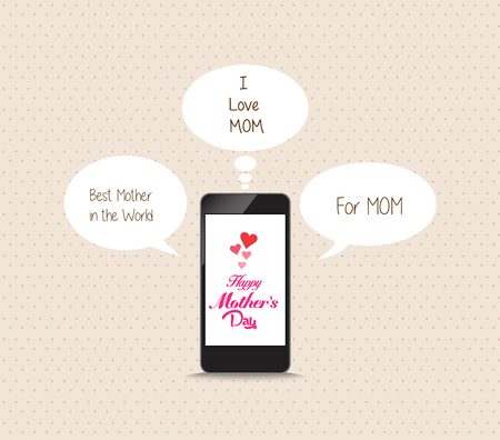 love concepts: message to mothers lovely frome cellphone Illustration