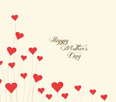 february 14th: Motherss Day flower background with hearts Illustration