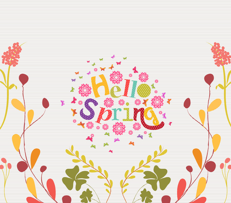 western script: hello spring Hand Drawn Floral Frame Background Illustration
