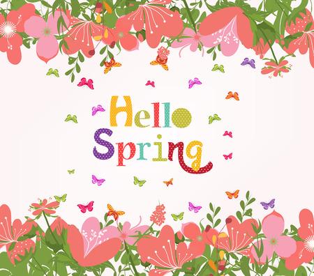 western script: Hello Spring with flower vintage