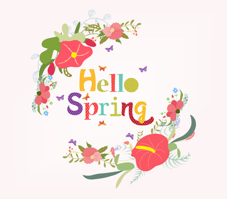 branch cut: lettering Hello spring with flower element Illustration