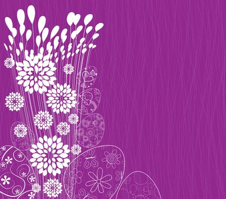 ornamental garden: happy easter eggs and flower background