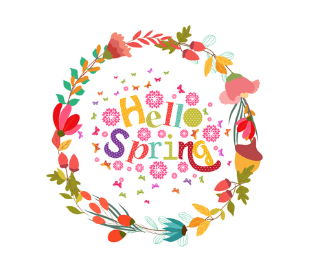 western script: hello spring with flower and butterflies shape of the wreath