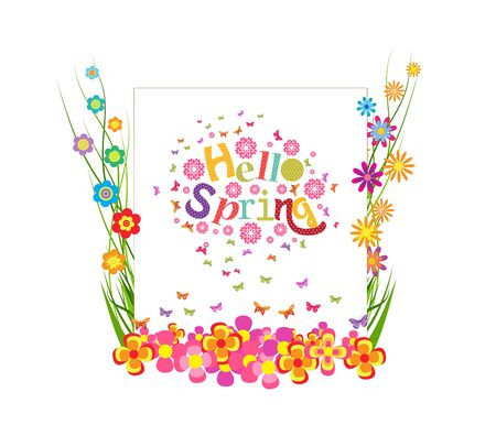 western script: hello spring with grass and butterfly colorful banner