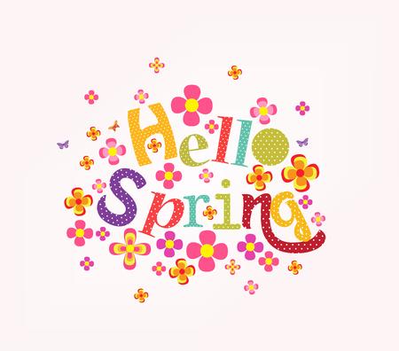 western script: lettering Hello spring with decorative flower element Illustration