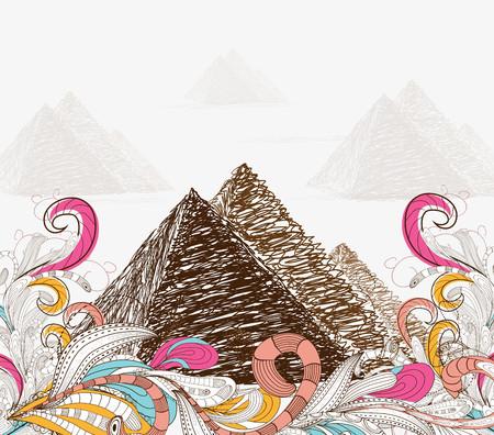 hot stones: Egypt - hand drawn. pyramids doodle