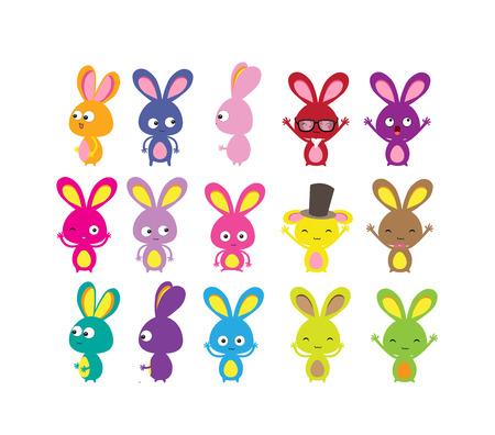 cartoon easter basket: Happy Easter bunny colorful set